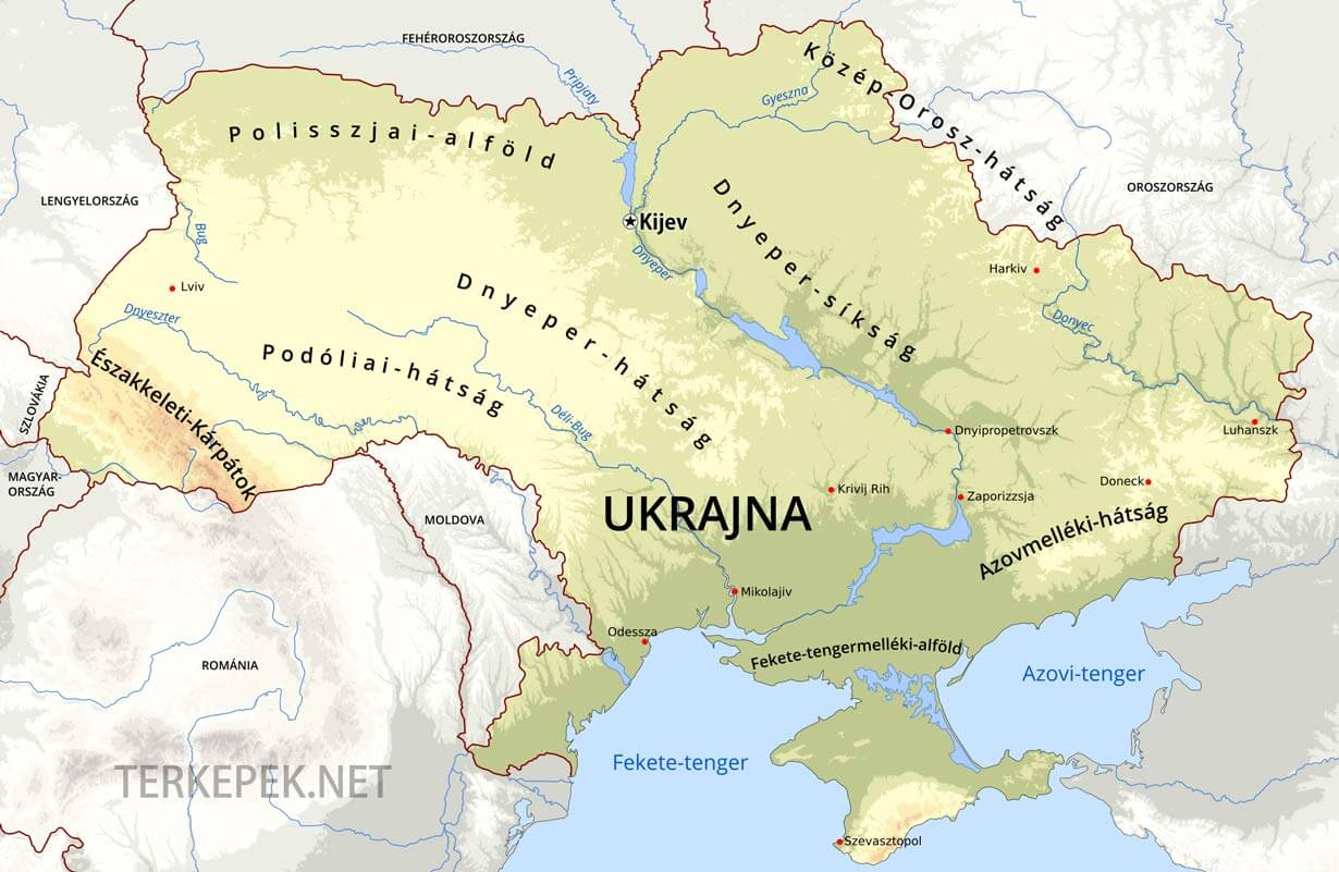 térkép ukrajna magyarország Ukrajna domborzati térképe térkép ukrajna magyarország